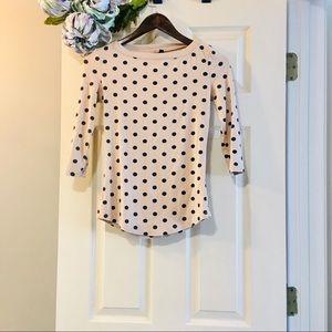 CYNTHIA ROWLEY 3/4-Sleeve Polka Dot Tee Small (S)